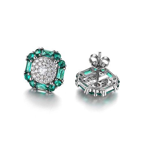 JewelryPalace 1.2ct Nano Russes imitation Emeraude Pierre de Naissance Goujon Boucles d'oreilles en Argent 925