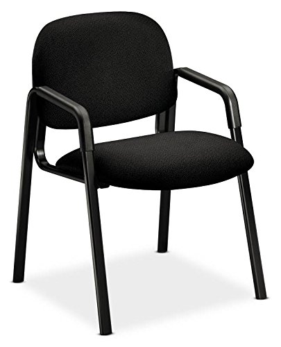 - HON 4003AB10T Solutions Seating Leg Base Guest Arm Chair, Olefin, Black
