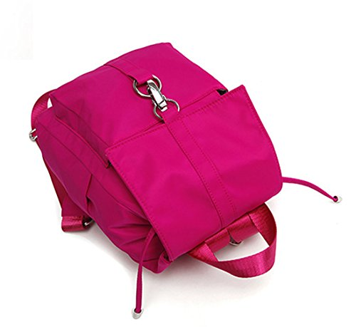 Keshi Nylon Niedlich Schulrucksäcke/Rucksack Damen/Mädchen Vintage Schule Rucksäcke mit Moderner Streifen für Teens Jungen Studenten Pink rioSi