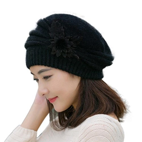 Price comparison product image Kwok Fashion Womens Flower Knit Crochet Beanie Hat Winter Warm Cap Beret (Black)