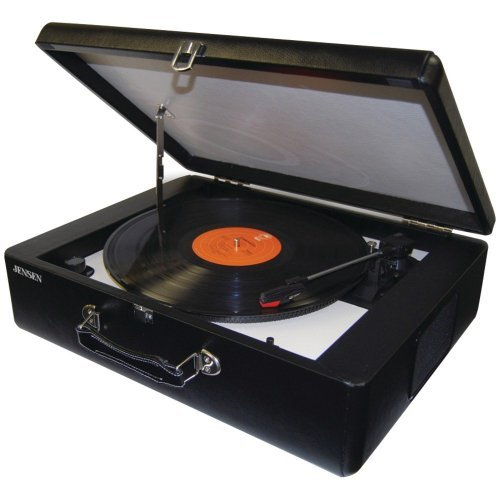 (Nostalgic Style Briefcase Portable Stereo Turntable with Built-In Speakers and 3 Speeds Vinyl Records Player USB cable mp3 Converter Features Fully Automatic Return tone Arm Hi Fi RCA audio line)