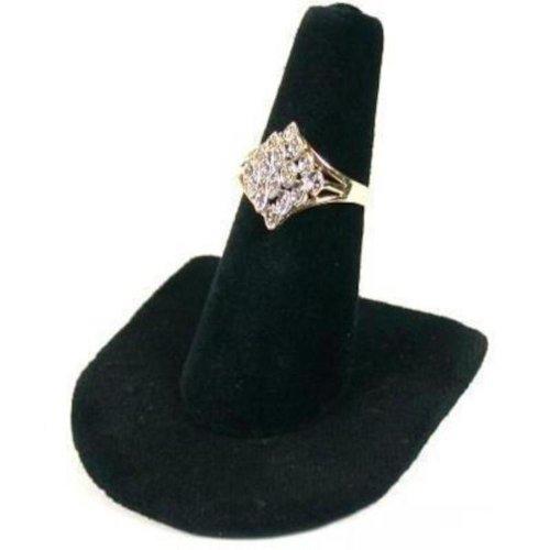 Velvet 2 Showcase Ring Displays (Black Velvet Ring Finger Jewelry Holder Showcase Display Stand)