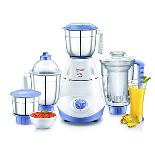Prestige Iris 750W Mixer Grinder with Jars, White and Blue