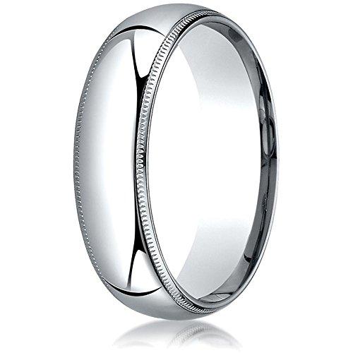 14k Gold 6mm Slightly Domed Super Light Comfort-fit Wedding Band/Ring with Milgrain Size 8.5 ()