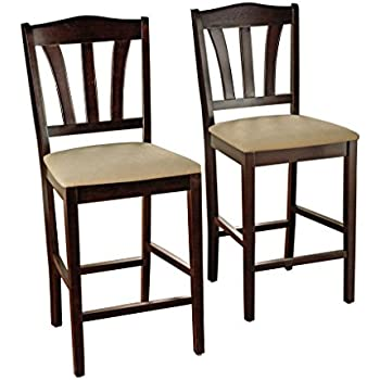 Amazon Com Coaster Bar Stools Solid Wood Cappuccino With