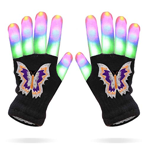 Luwint Children LED Finger Light Gloves - Colorful Flashing Novelty Toys for Kids (Butterfly Pattern/ Color Box Package)