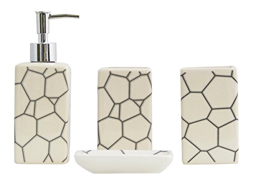 4-Piece Ceramic Bathroom Accessory Set - White Crack Pattern Bathroom White Ceramic