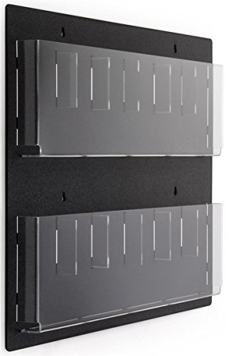 "Displays2go Wall Mounted Literature Rack, 12 Pockets for 4x9 "" Pamphlets, Optional Dividers (RP6BLK)"