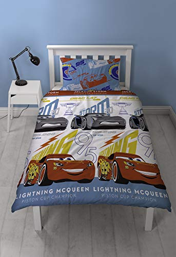 - Disney Cars 3 Lightning 2 Piece UK Single/US Twin Sheet Set 1 x Double Sided Sheet and 1 x Pillowcase  Rotary Design