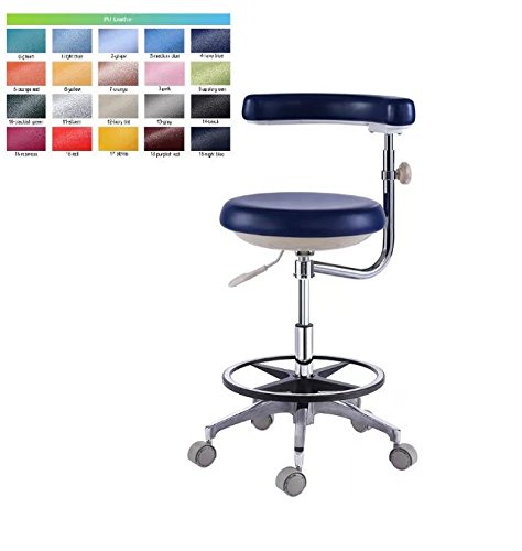 Aphrodite Dental Assistant Stool Nurse Chair Height Adjustable with Armrest PU Leather by Purple-Violet by Aphrodite