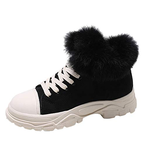 XoiuSyi Women's Casual Leopard Print Round Toe Shoes Lace-UP Thick Bottom Fuzzy Boots