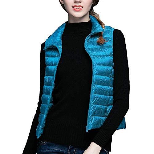 Stand Camisolas Corto Mujer Pluma Mujeres Slim Cuello Sólido Outerwear Chaleco Blau Sin Fit Battercake Casuales Mangas Abrigos Ultraligero Color Plumas 5Z0Exdqw