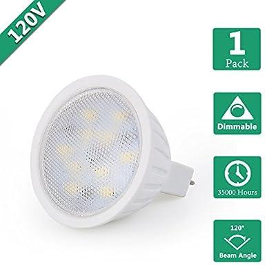 Dimmable MR16 Spotlight LED Bulb, 5W Flood lightig Replace 50 Watts Halogen Bulb, MR16 LED Spotlight AC120V Warm White 2700K GU5.3 Bin Pin Base Recessed Light Track Light 500LM