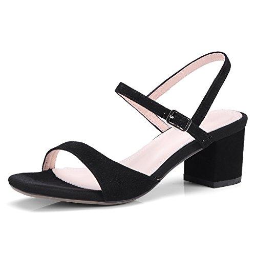 de Toe Elegante audaz la Mujer Cuero Zapatos Simple Coreana to con black Versión Sandalias de y Fresco de rxZ7nxI
