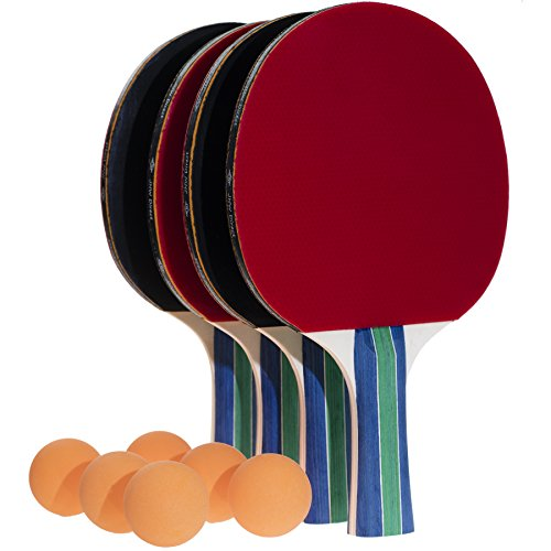 JNW Direct Table Tennis Set, 4 Professional Paddles & 6 Ping Pong Balls, Portable Case Included, Flared Racket Handles for Improved Grip, Great Gift this (Practice Tennis Balls Case)