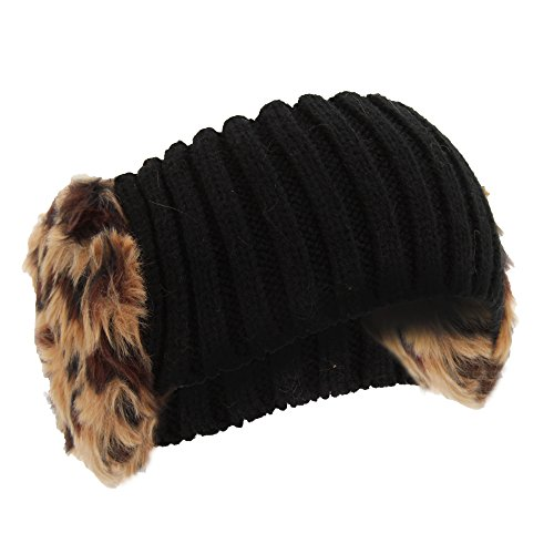 Universal Textiles Womens/Ladies Knitted Faux Fur Winter Headband With Earmuffs (One Size) (Brown Leopard)