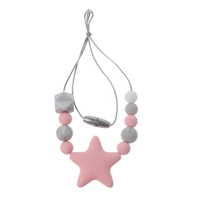 JUANLIAN 1PC Silicone Star Teething Necklace, Beads Chewy Jewelry for Boys Girls Baby Nursing Chewing Toy: Clothing