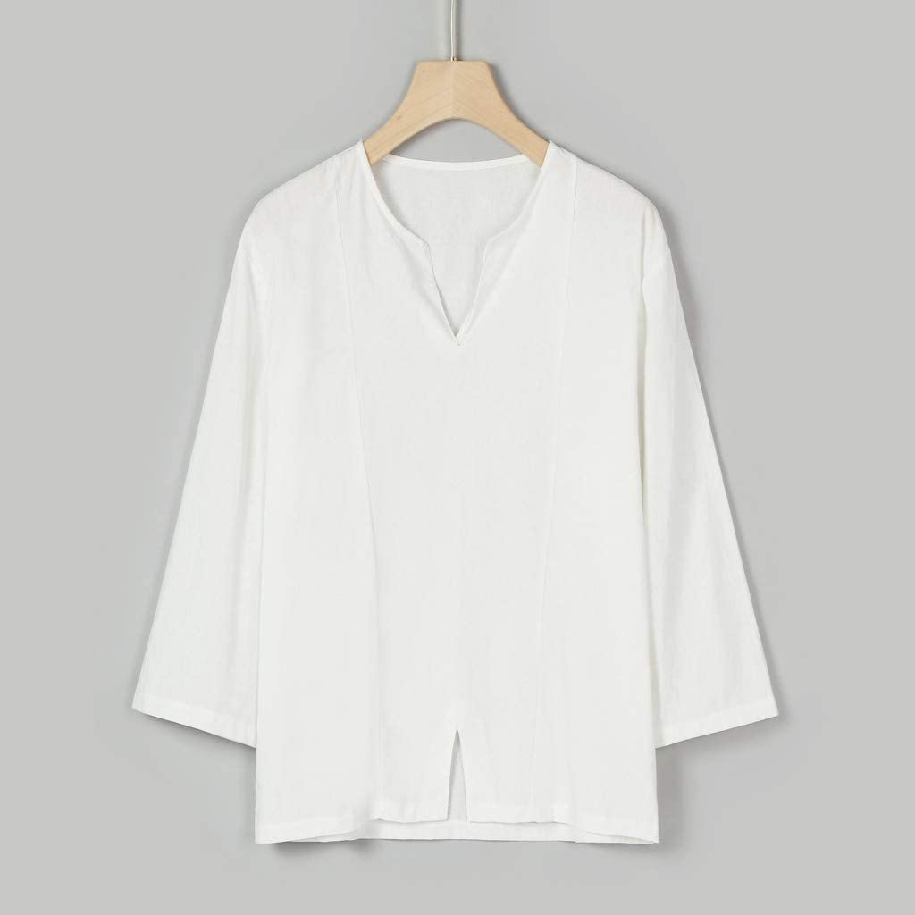 Mens Linen Henley Shirt Casual 3//4 Baggy Sleeve T Shirt Pullover Tees V Neck Hem Beach Tops