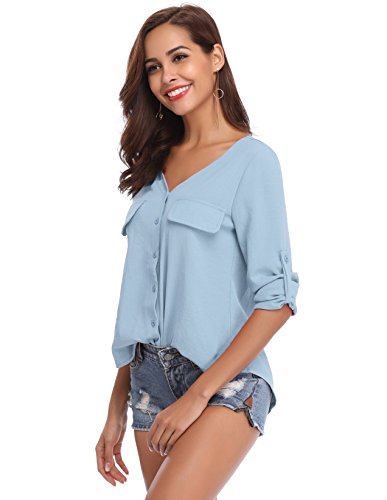 LYHNMW YHNMW Women's Casual Button Down Shirt Loose Roll-up Sleeve Tops Chiffon V-Neck Blouse by LYHNMW (Image #4)