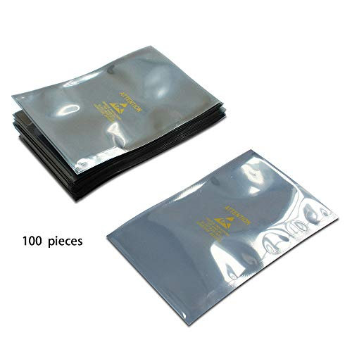 15 x 20 cm 100 Bolsas Premium antiest/áticas resellables Bolsa de pl/ástico sin est/ática para componentes electr/ónicos de Placa Base SSD HDD computadora