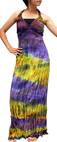Full Funk Tie Dye Ladies Long Halter Smock Wide Bust Dress Violet Size XS