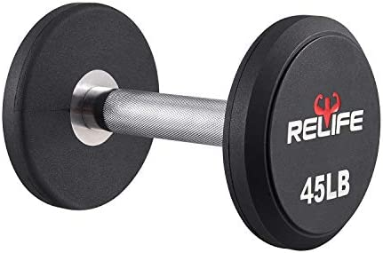 RELIFE REBUILD YOUR LIFE Dumbbell Set PEV Material Round End Dumbbell Heavy Weights Barbell Metal Handles for Strength Training Home Gym Exercise Equipment
