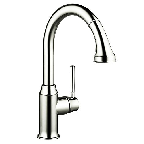 Hansgrohe 04215830 Talis C HighArc Single-Hole Kitchen Faucet with Pull Down 2-Spray, Polished Nickel (Faucet Spray Hansgrohe)