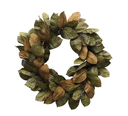 (Vita Domi 30 inch Magnolia Leaf Wreath Two Tone Brown and Green (VTD-ABF-NF200831) )