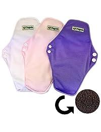 Paquete de 3 toallas femeninas ecologicas reusables color rosa, morado y blanco 17 x 25 cm, doble botón, 2 capas de microfibra y 1 de algodón, talla unica
