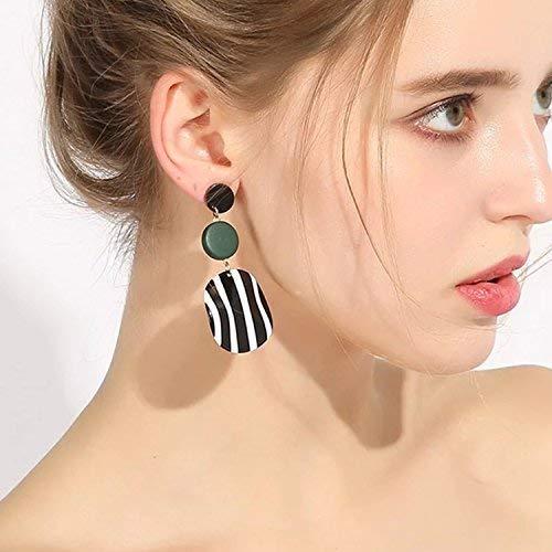 Fashion Stripes Geometric Circle Lightweight Dangle Drop Earrings
