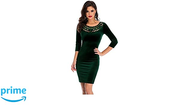 Amazon.com: OUR WINGS Women Dark Green Hollow Out Round Neck Sleeved Velvet Dress S: Clothing