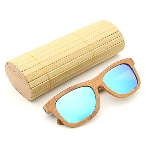 Polarizadas de y de con Madera la de de la de para Hombre Gafas AZB Sol Azul Bambú Vendimia Flotante de Mujer Caja Caminante Bambú Sol Gafas 8qwt5U