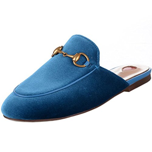 ENMARER Womens Loafers Shoes with Buckle Soft Retro Slippers Flats Round Toe Blue 8.5B(M) US ()