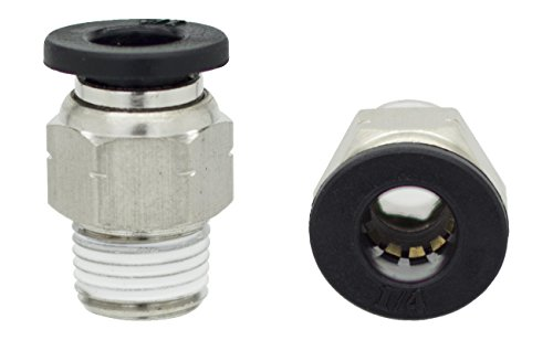 Od Tube (PneumaticPlus PC-1/4-N1 Push to Connect Tube Fitting, Male Straight - 1/4