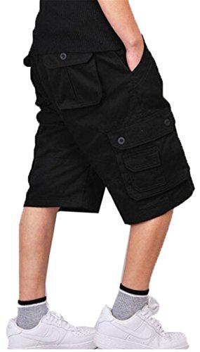 CRAZY Men's Casual Summer Cotton Loose Fit Multi Pocket Cargo Shorts black 40 -