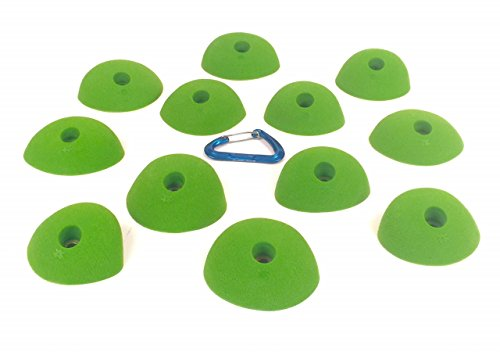 12 Medium Basic Incuts | Climbing Holds | Lime Green by Atomik Climbing Holds