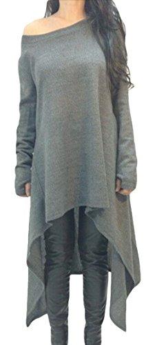 La vogue Damen Langarmshirt Oversize Pullikleid Longshirt Top Minikleid
