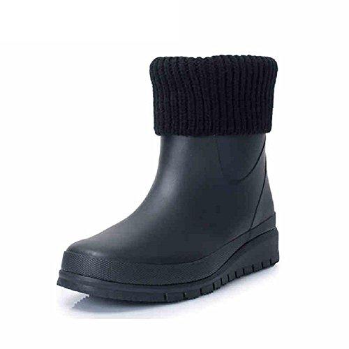 De las mujeres Moda Cómodo Caucho Lluvia Zapatos Lluvia Botas Black