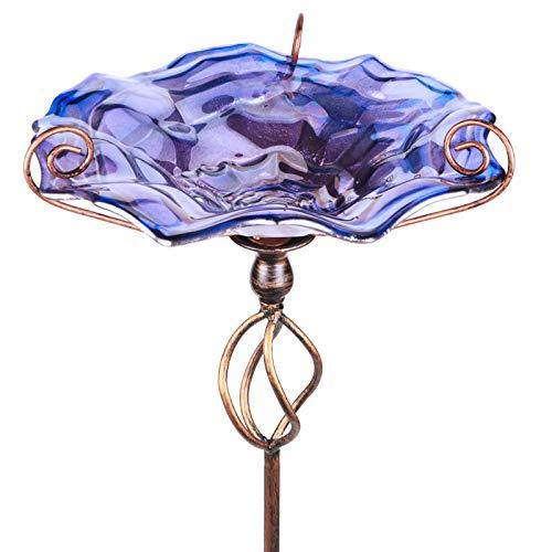 Comedero Mumtop Para Pajaros De Cristal Violeta+Estaca 78cm