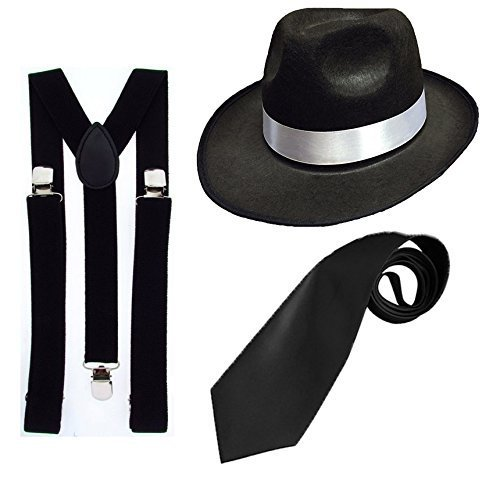 [DELUXE 1920S GANGSTER FANCY DRESS SET - TRILBY HAT + BLACK SUSPENDER BRACES + BLACK TIE (Black Hat) by RS FASHIONS] (1920s Gangsters Fashion)