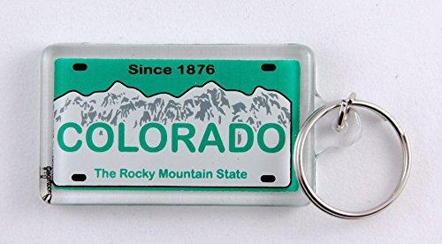 Colorado State License Plate Acrylic Rectangular Souvenir Keychain 2.25