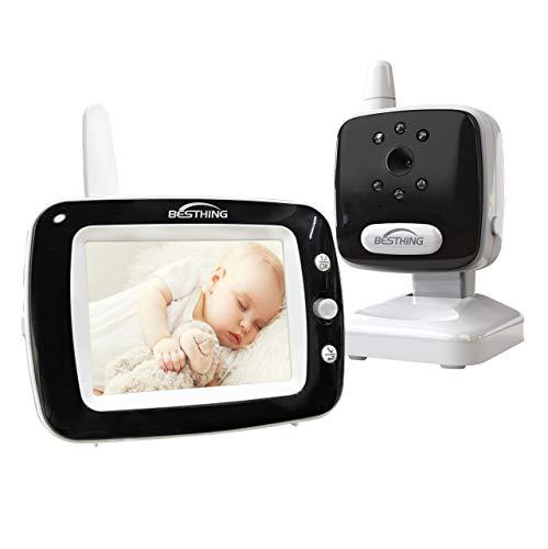 Aurola Baby Monitor with 3.5″ LCD Screen, Digital Camera, Infrared Night Vision, Two-Way Talk Back, Lullabies, Long Range, Temperature Monitoring, and High Capacity Battery, Black (Monitor)