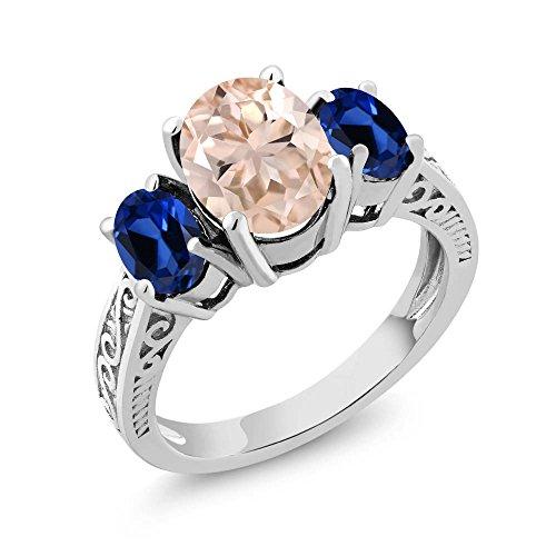 2.60 Ct Peach Morganite Blue Simulated Sapphire 925 Sterling Silver 3-Stone Ring - Morganite Sapphire Ring