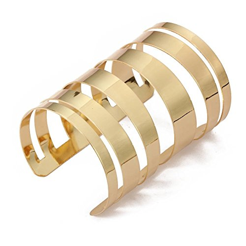 QTMY Alloy Metal Gold Hollow Hoop Open Cuff - Gold Cuff Wide Bracelet