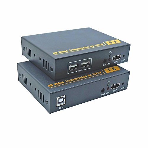 Colink-Tech-CLK213-500ft/150m HDMI 2USB KVM Extender Over IP 1080p over Cat5e/6a,Keyboard+Mouse+IR,Supports 1 to many Receivers Transmit over Ethernet Switch by Colink-Tech