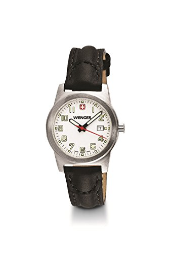 Wenger Swiss Womens Field Classic Watch, 31mm White Dial Date Leather Band 01.0441.109