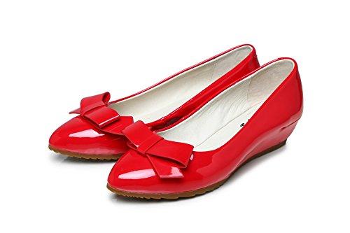 Amoonyfashion Womens Solide Pointu Fermé Orteil En Cuir Verni Pompes-chaussures Rouge