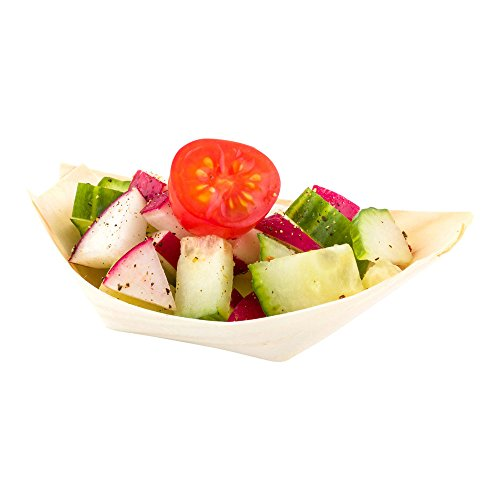 Mini Disposable Wood Serving Boats – Natural Pinewood Take Out Trays: Perfect for Restaurants, Caterers and Food Trucks – 3.25'' x 2.25'' – Biodegradable and Compostable – 200-CT – Restaurantware by Restaurantware