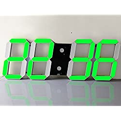 3D Large LED Digital Wall Clock with Remote Control Electirc Alarm Clock for Living Room, Office Thermometer Calendar Date US Plug (Green)