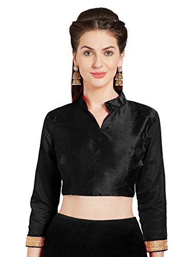 Women's Black Art Silk Readymade Saree Blouse Choli Mirchi Fashion Top